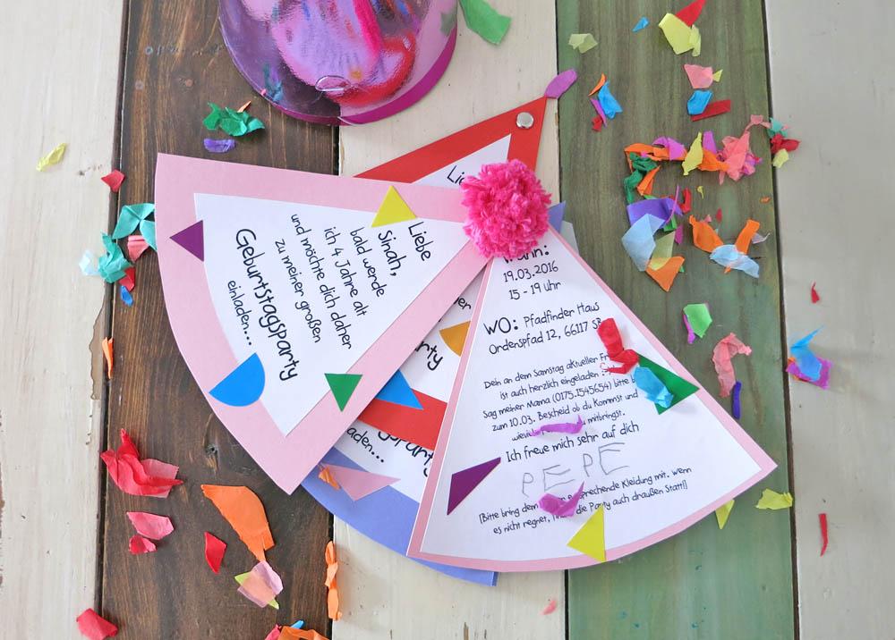 Partyhut Einladungen für die nächste Party basteln
