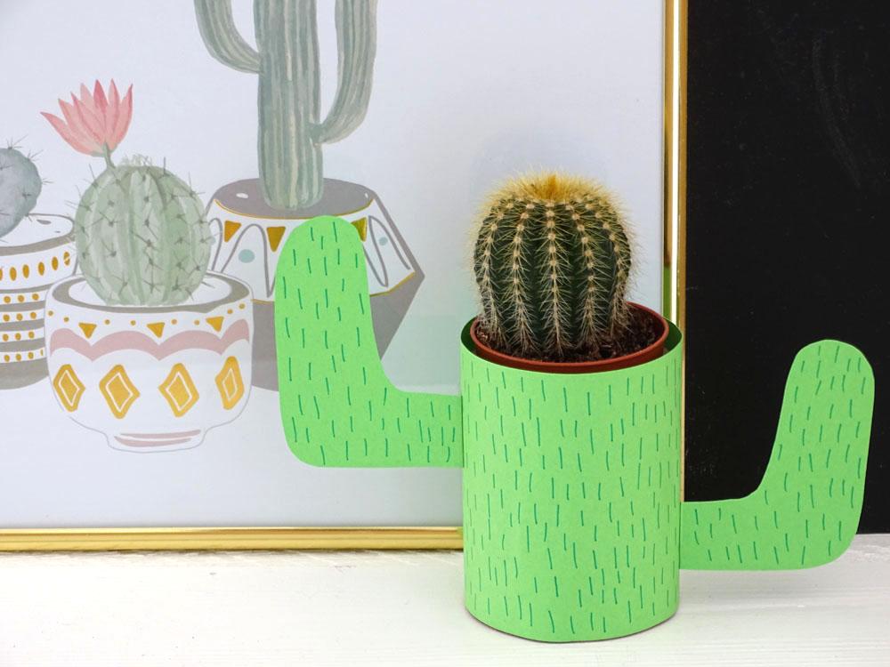 Kaktus basteln DIY Tonpapier