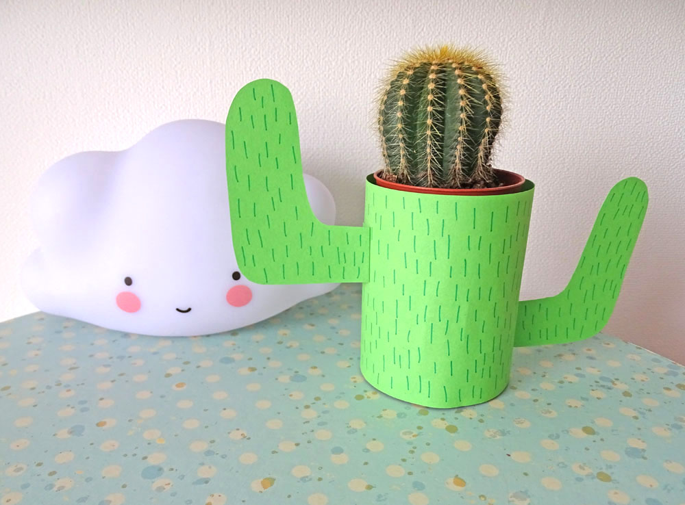 Kaktus Übertopf selberbasteln DIY mit Kindern
