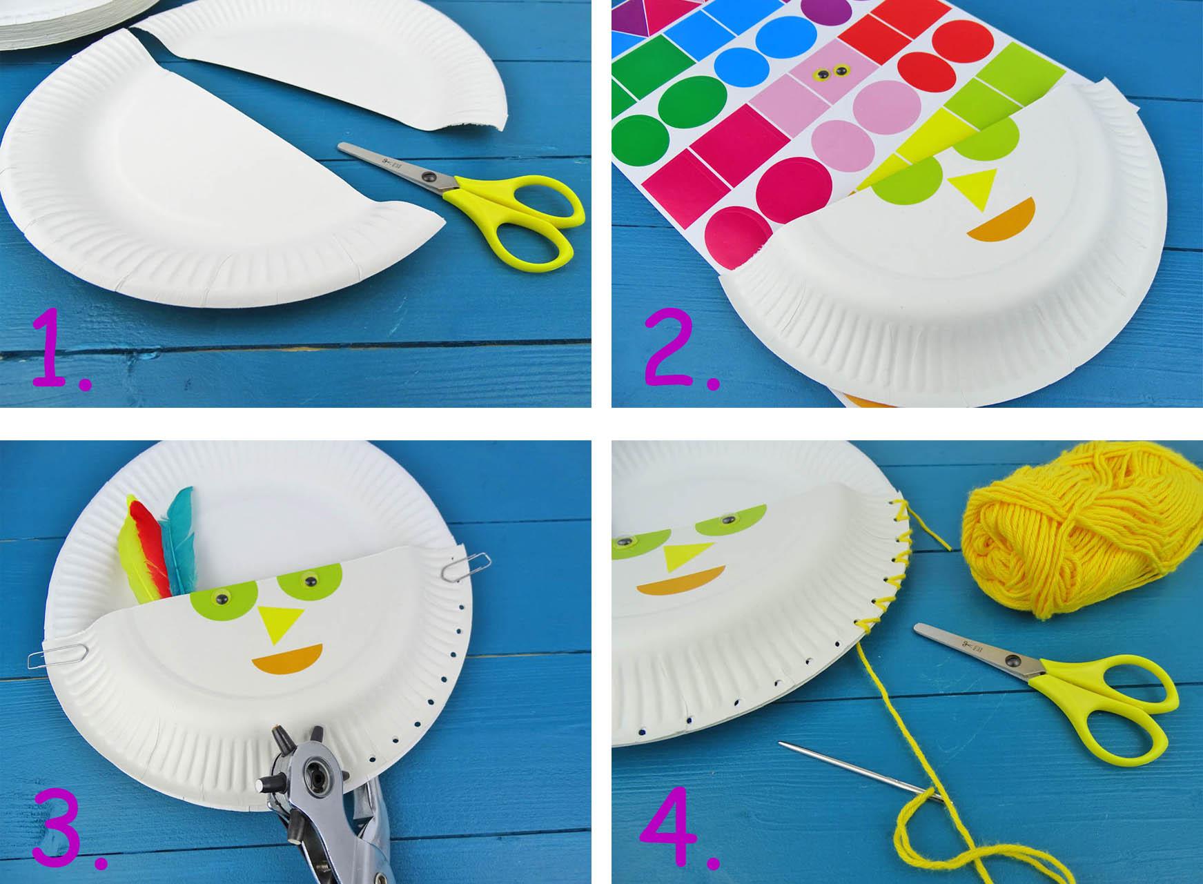 Pappteller Utensilo basteln mit Kindern Kidscraft DIY