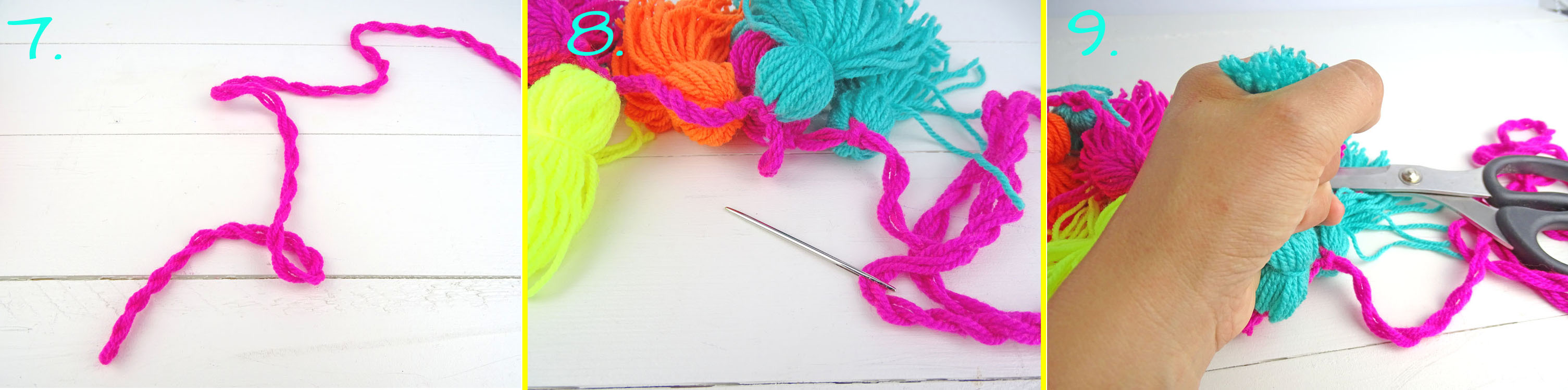 Anleitung 7-9 Tassel Girlande selbermachen DIY
