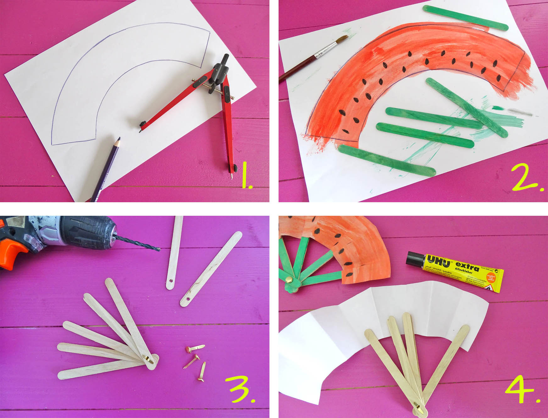 Anleitung Papierfächer basteln mit Kindern DIY