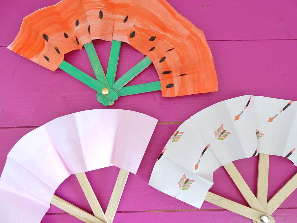 Fächer basteln aus Papier, DIY, Papierfächer