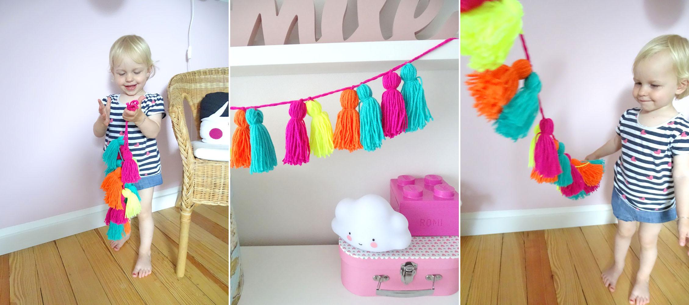 Neon Tassel Girlande für das Kinderzimmer selbermachen