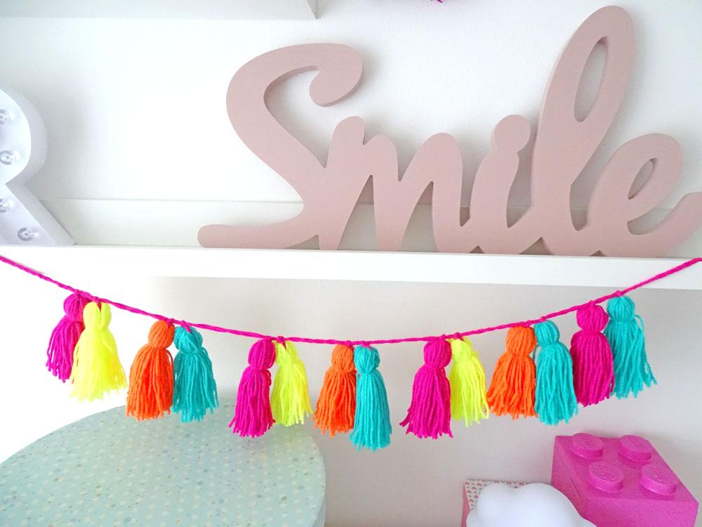 Tassel Girlande neonfarben DIY