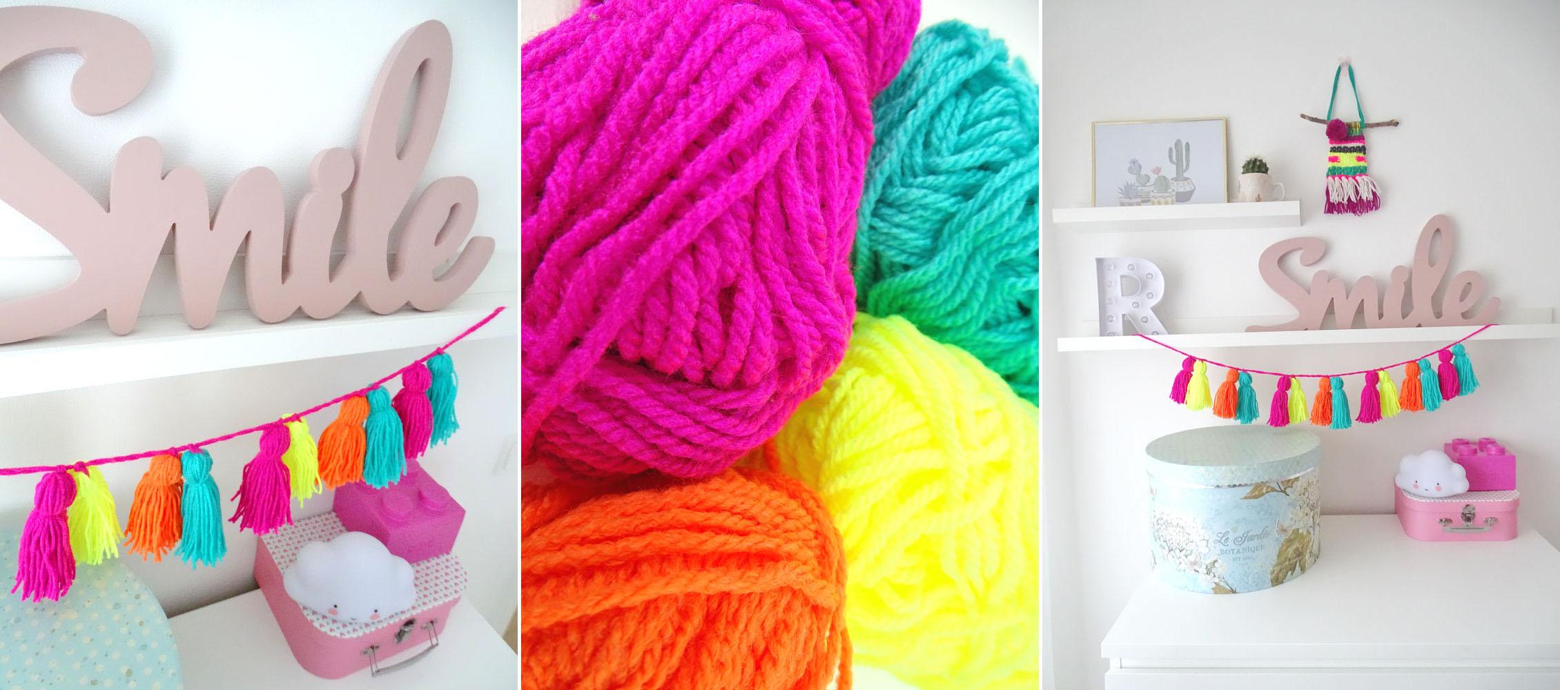Tassel Girlande selbstgemacht DIY mit neon Wolle