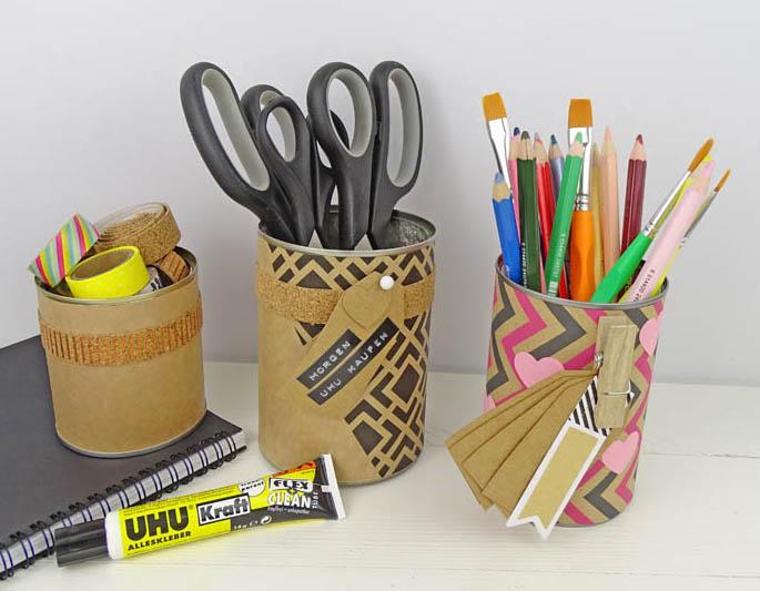 F r mehr ordnung utensilo aus blechdosen dezentpink for Schreibtisch utensilo