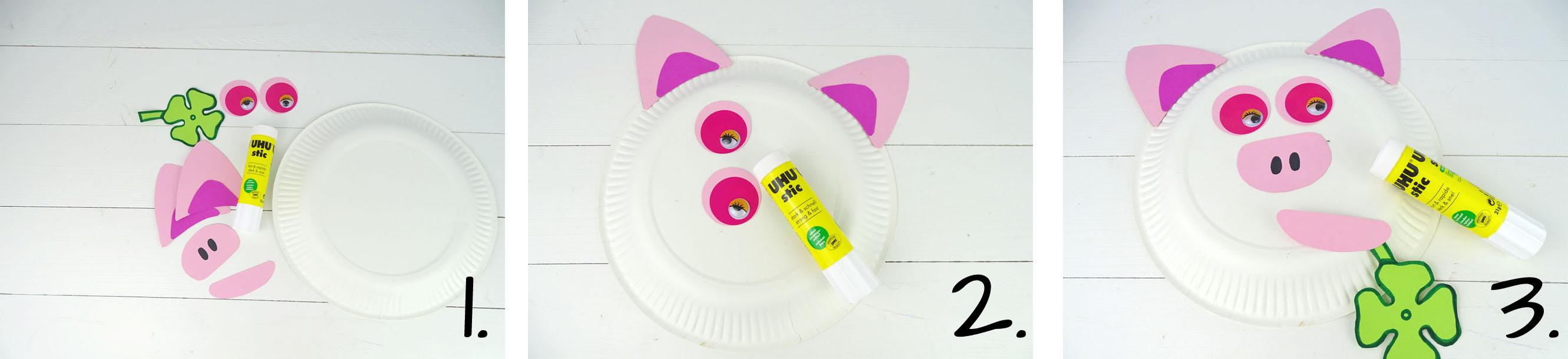 Anleitung Tiermaske aus Pappteller basteln Schwein