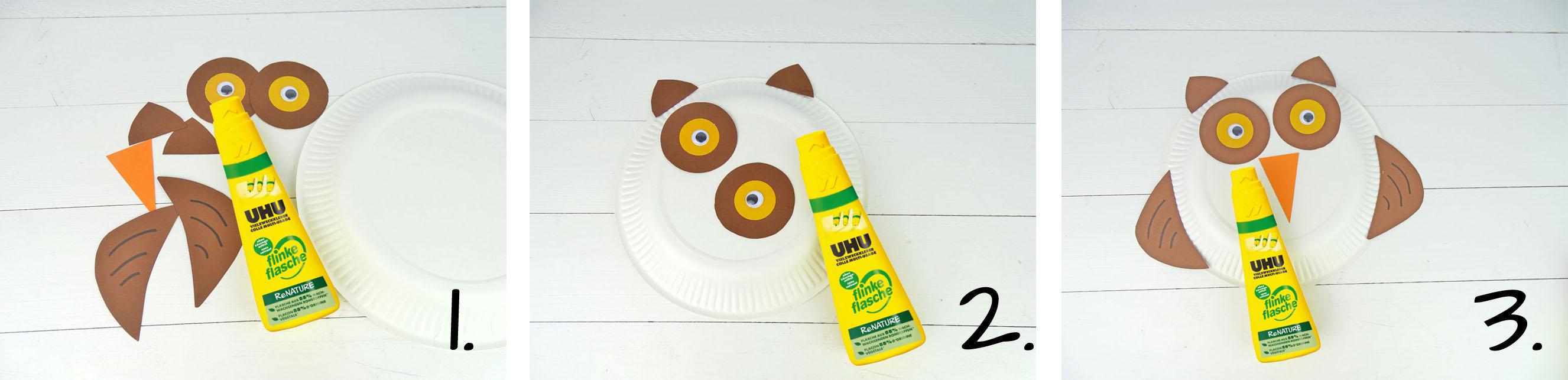Anleitung Tiermaske aus Pappteller basteln Uhu