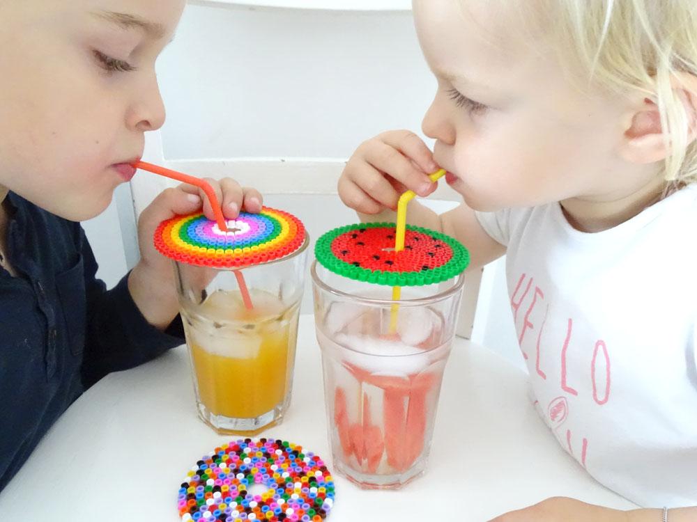 Glasabdeckung aus Bügelperlen DIY für Kinder