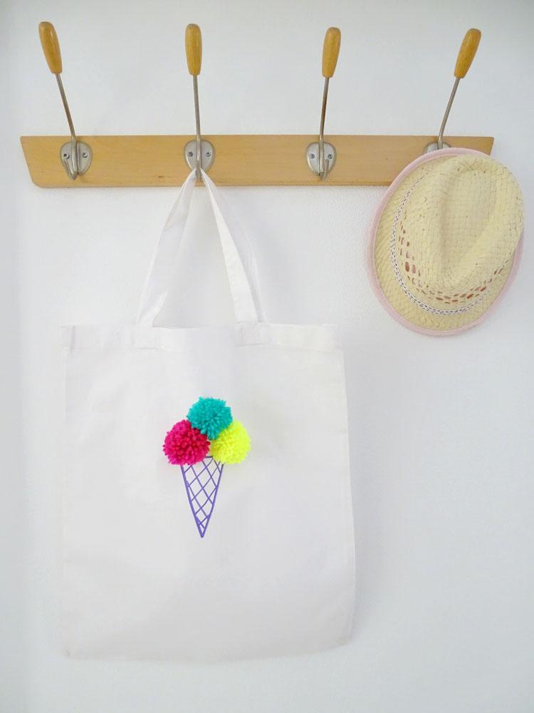 Pom Pom Eistüten Tasche DIY Idee für Kinder
