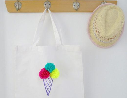 Pom Pom Eistüten Tasche DIY für Kinder