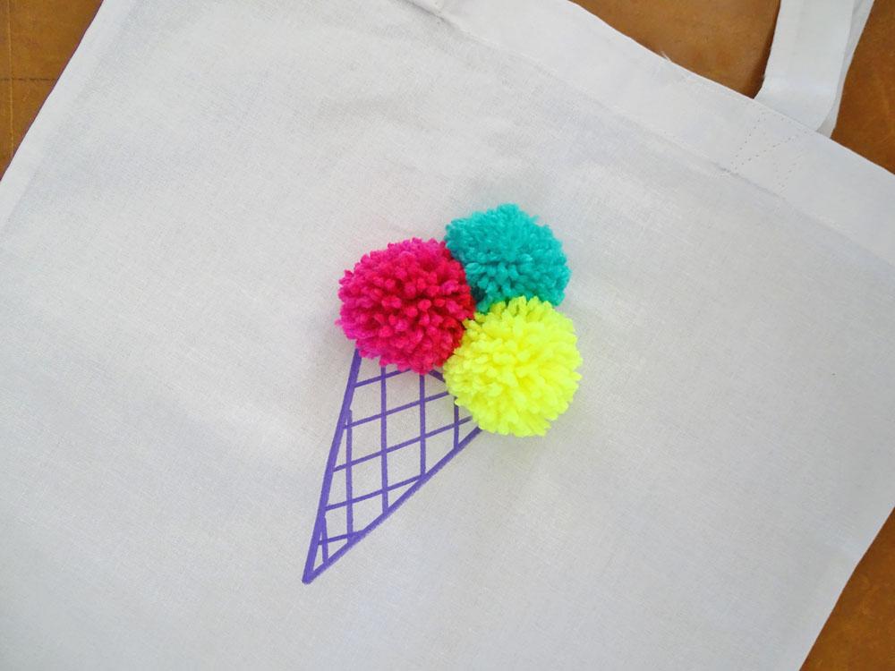 Pom Pom Eistüten Tasche selber machen DIY