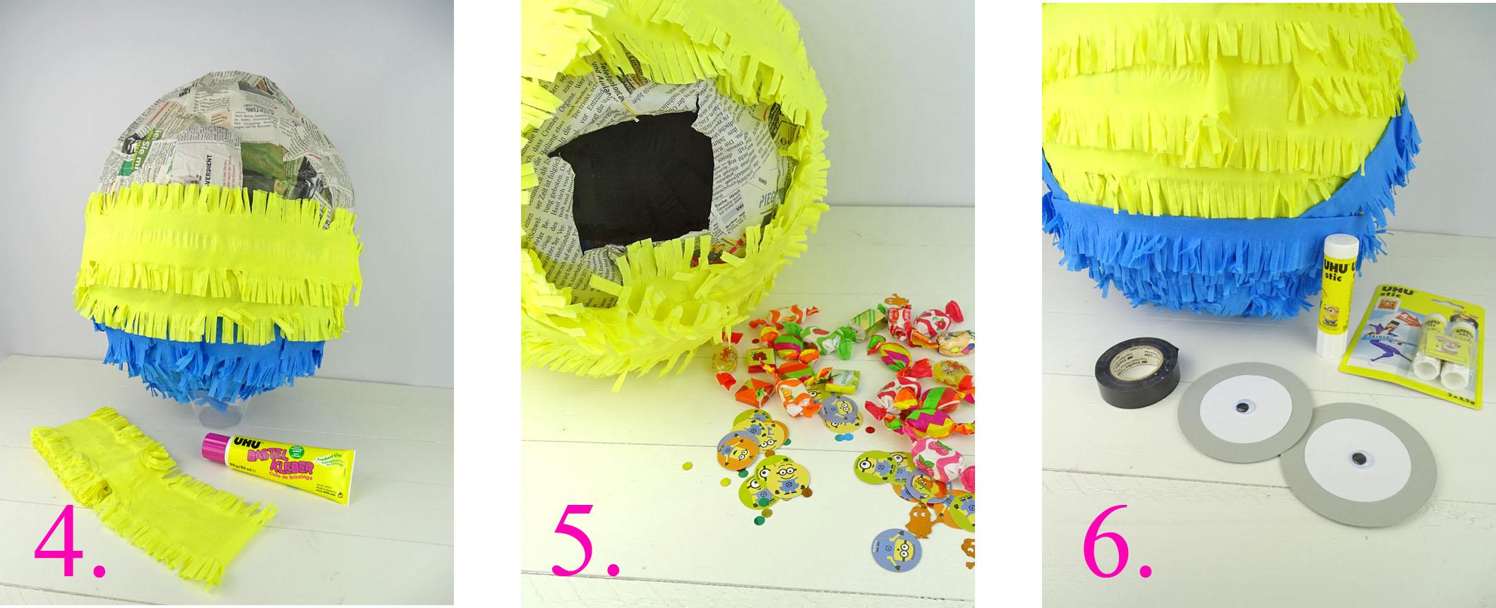 Minion Pinata basteln - Anleitung 4 bis 6
