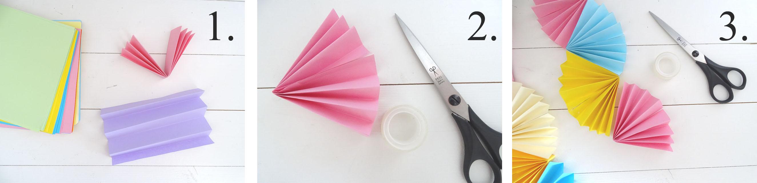 Papierfächer Girlande Basteln mit Kindern Anleitung