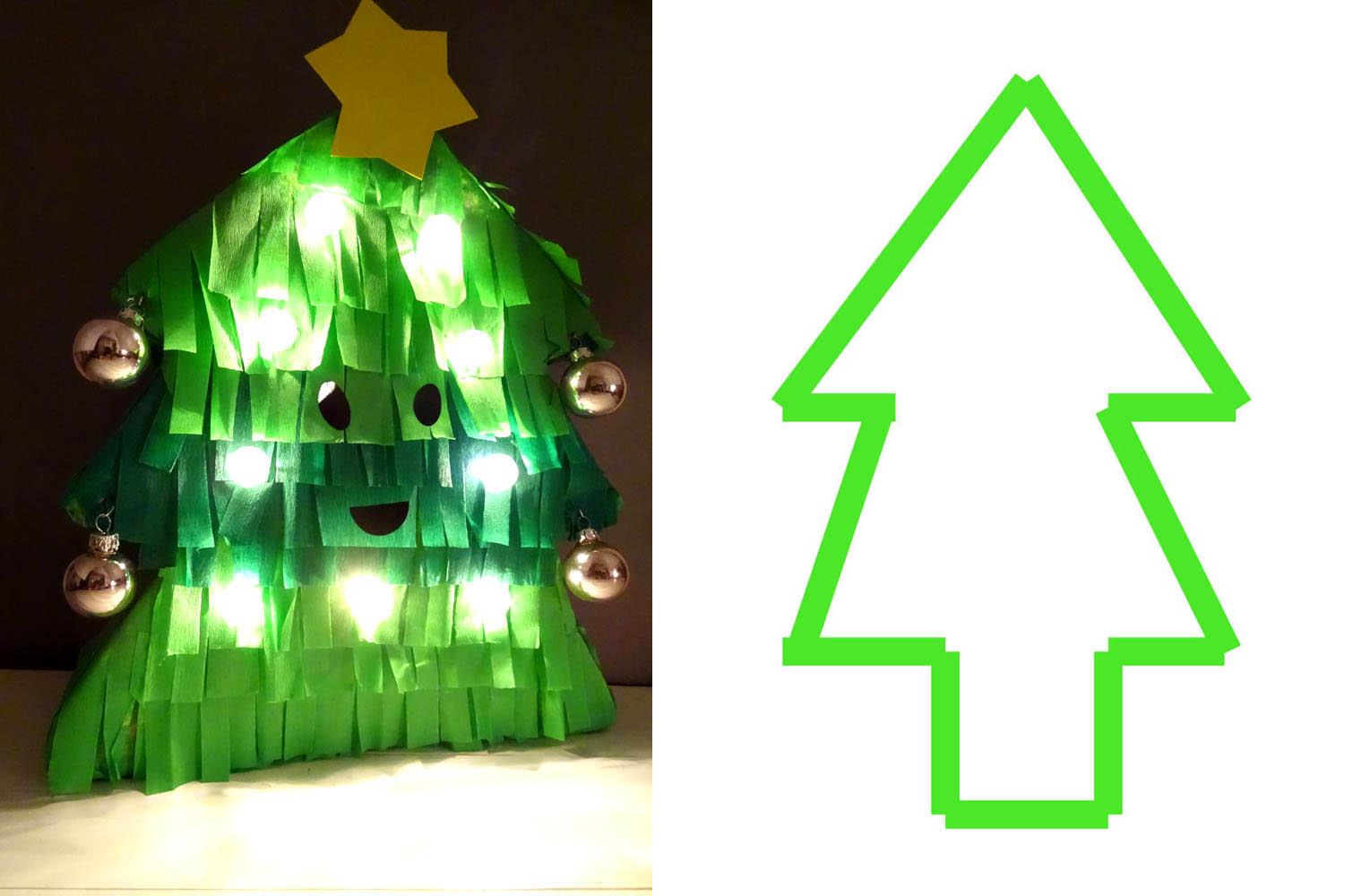 Tannenbaum Lampe basteln für Kinder
