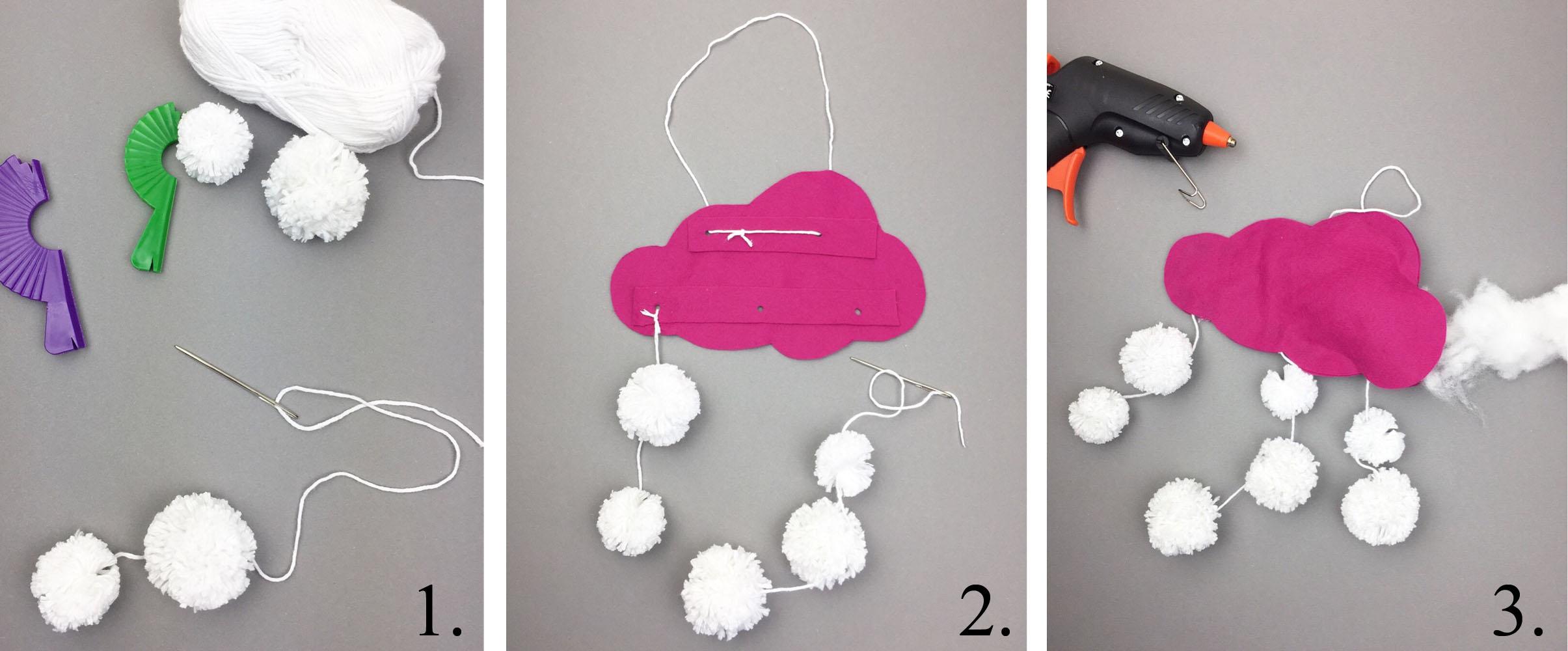 Anleitung Schneewolke basteln aus Pompoms