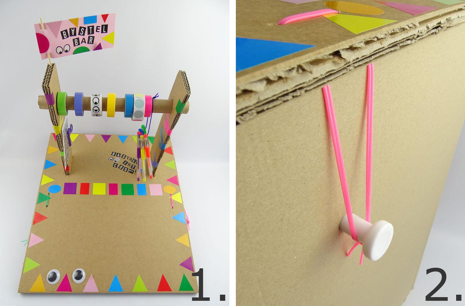 Ziehharmonika Hocker aus Pappe mit Sitzkissen und Basteltisch selber basteln DIY