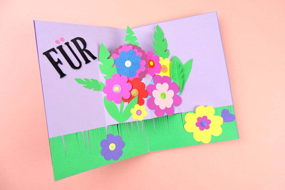 DIY Pop up Karte Papier Blumen