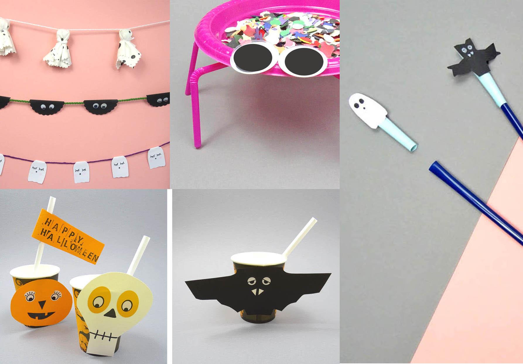 Halloween DIY Ideen Girlanden, Trinkbecher und Spinnen