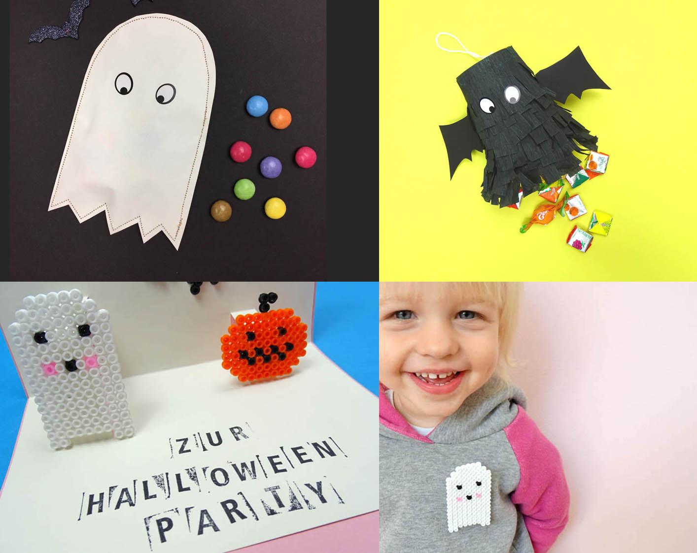 Halloween DIY Bastelideen Einladung, Pinata und Verpackung