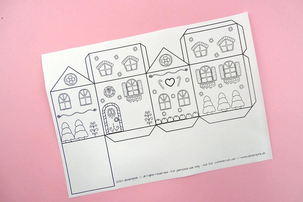 Adventskalender Häuser DIY zum ausdrucken