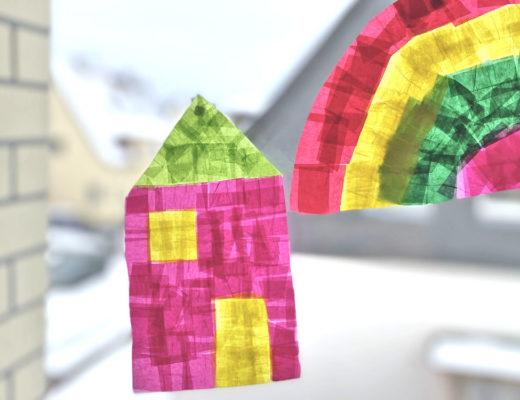 Fensterbild aus Transparentpapier DIY für Kinder