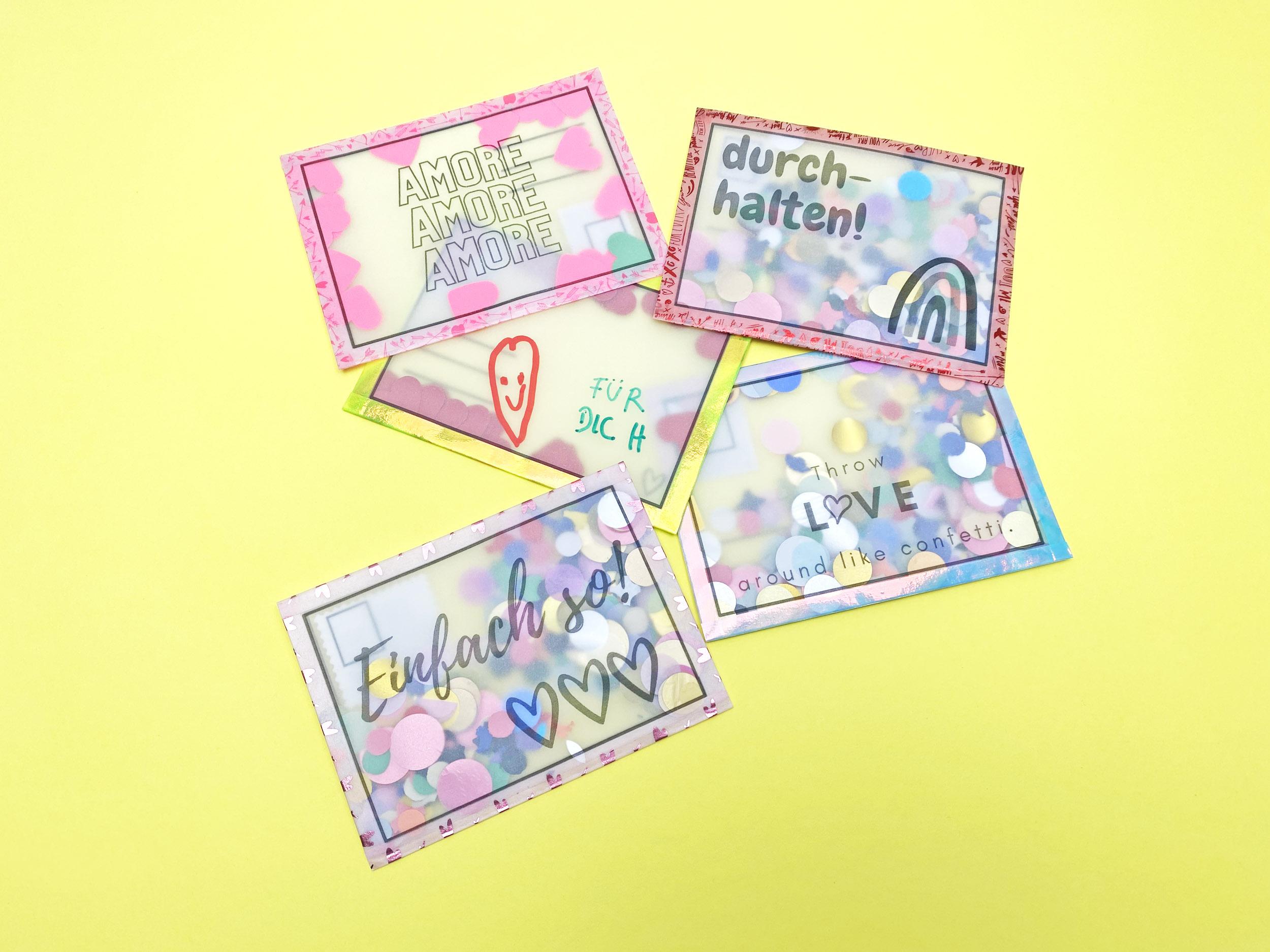 Postkarten aus Transparentpapier, basteln mit Kindern, DIY