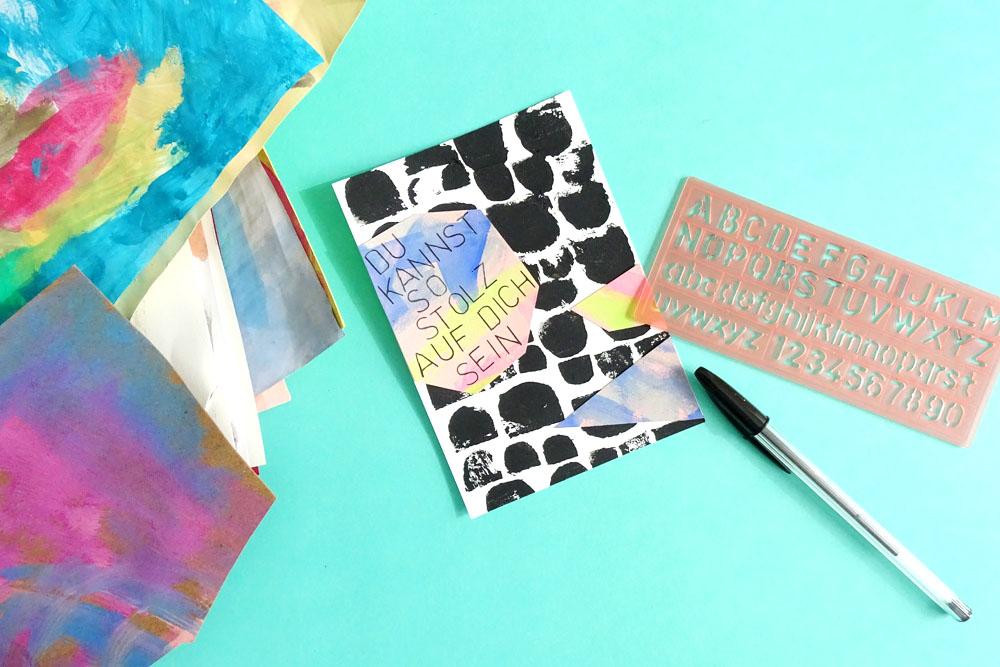 Kinderkunst trifft auf Moosgummi Stempel: Postkarten für jede Gelegenheit selber machen.
