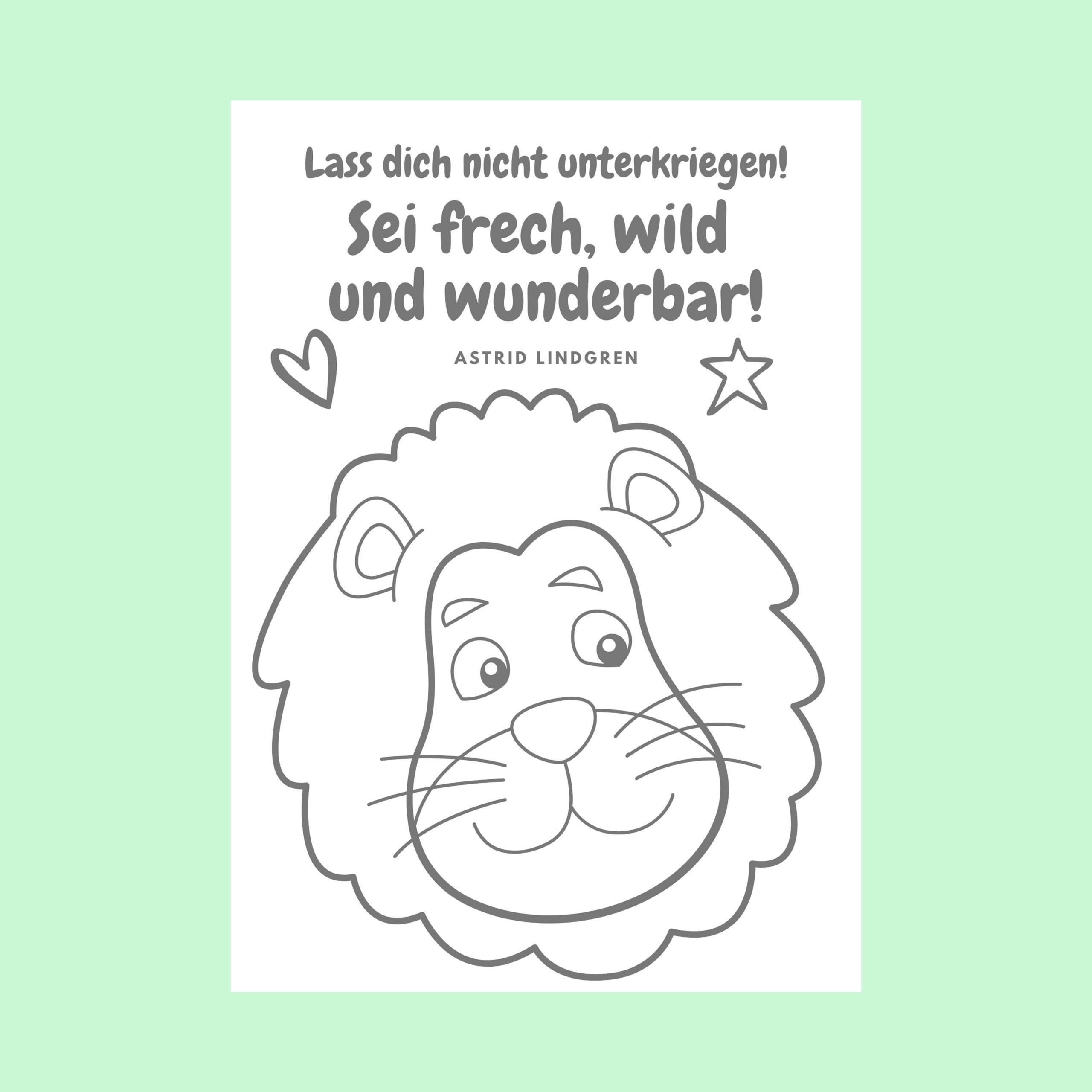 Löwen DIY Poster Ausmalbild